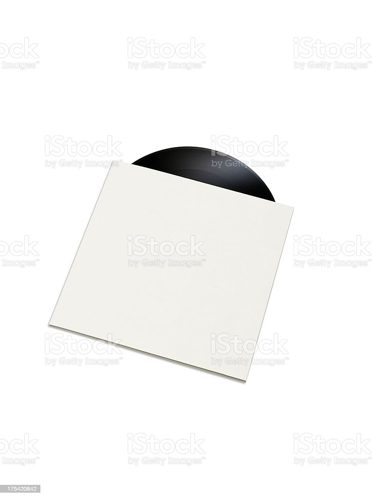 Record in a empty cover (Objects with clipping paths) stock photo