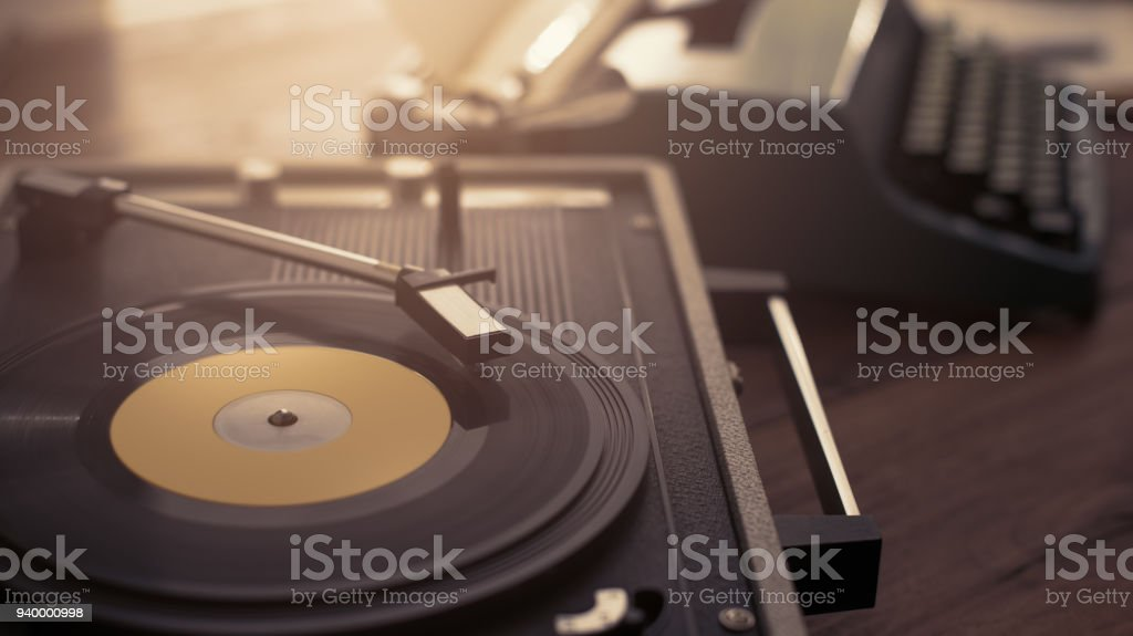 Record player and vintage typewriter stock photo