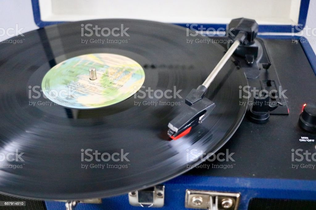 Record Player Playing Music stock photo