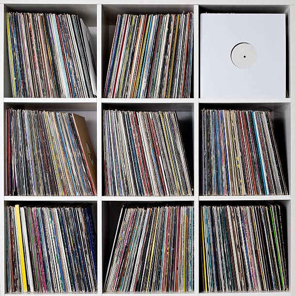 Record rack stock photo
