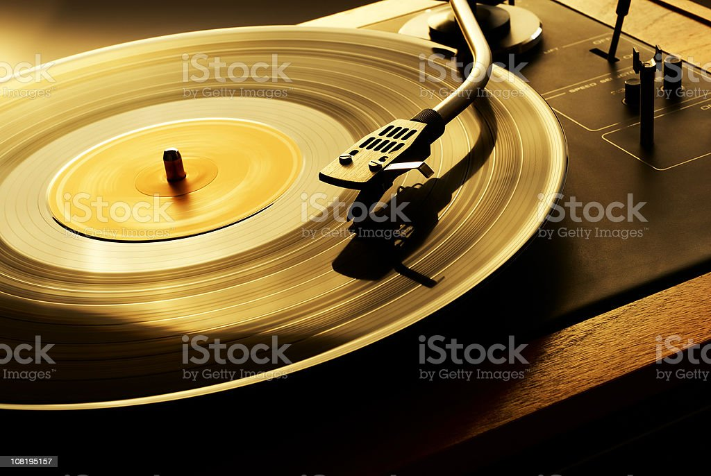 Record Spinning on Turn Table stock photo