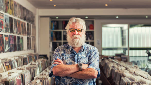 Record store owner portrait stock photo