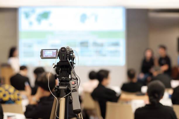 record video in seminar. - training imagens e fotografias de stock