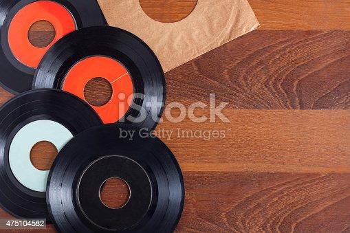 istock Record vinyl on wooden background 475104582
