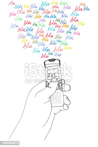 hand drawn illustration - crayon and fine liner - of a hand holding a recorder and recording