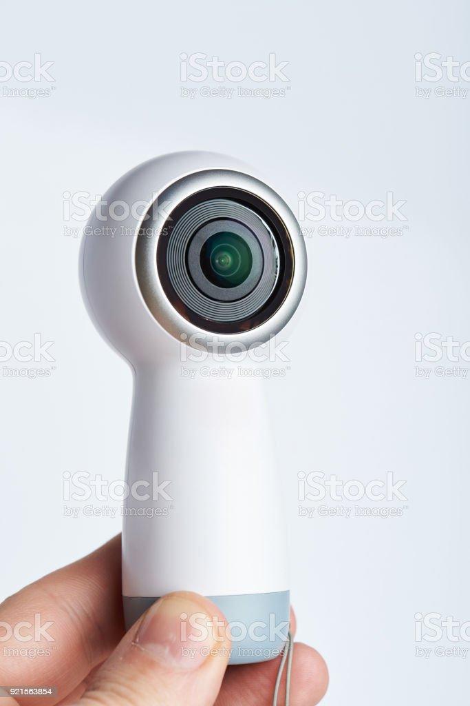 Recording 360 video camera stock photo