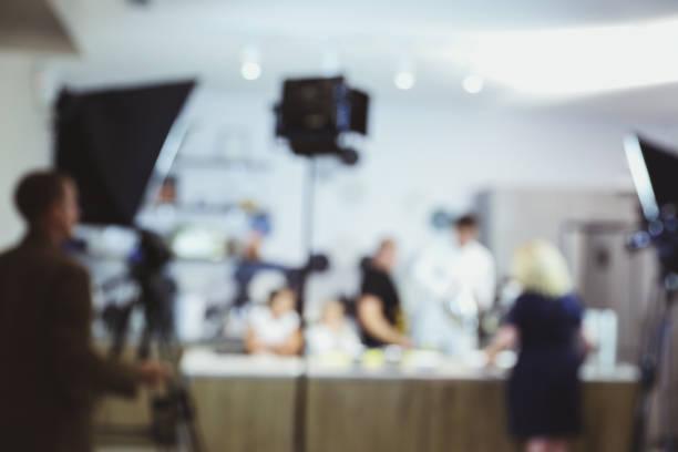 recording a TV program stock photo