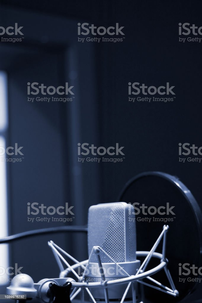 Recording audio studio microphone to record audio of voice, singing...