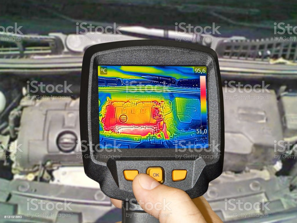 Recording Car Engine After drivingWith Thermal Camera stock photo