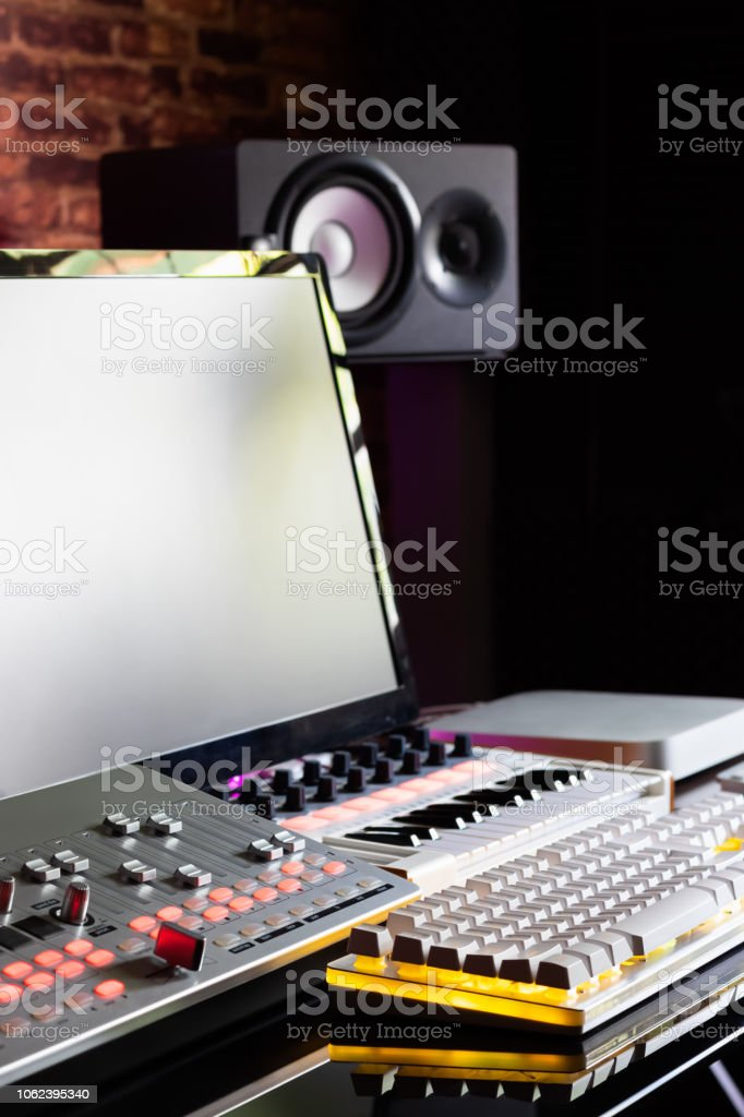recording equipment in home studio, music production concept