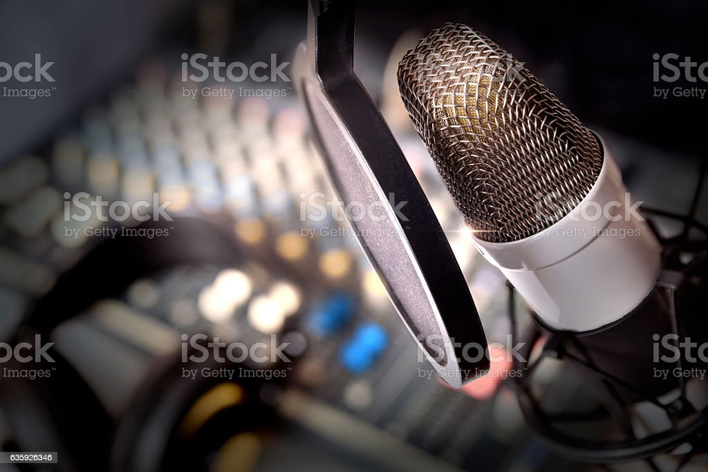 Recording equipment in studio stock photo