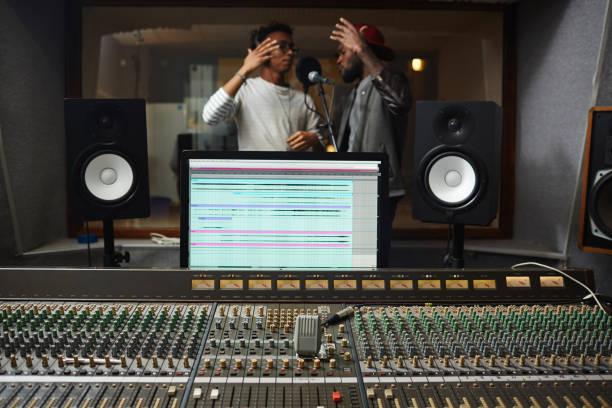 recording equipment - radio dj stock photos and pictures