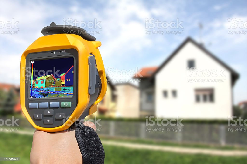Recording Heat Loss at the House stock photo