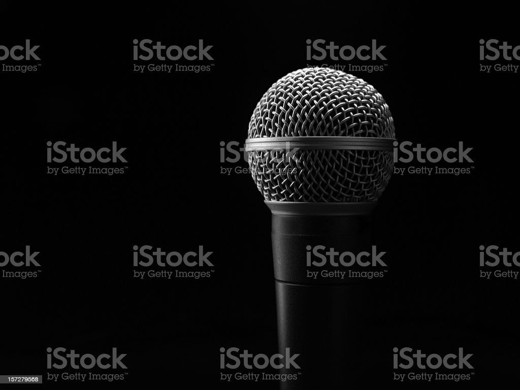 Recording Microphone Against Black Background royalty-free stock photo