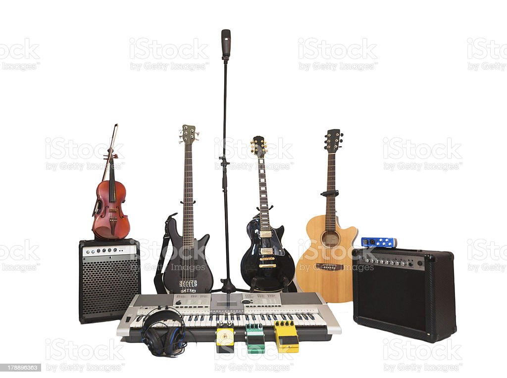 Recording microphone with band instruments Recording microphone with band instruments Art Stock Photo