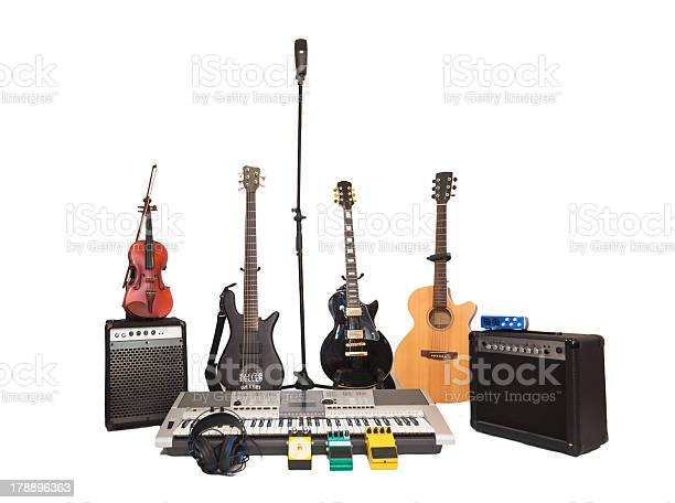 Recording Microphone With Band Instruments Stock Photo - Download Image Now