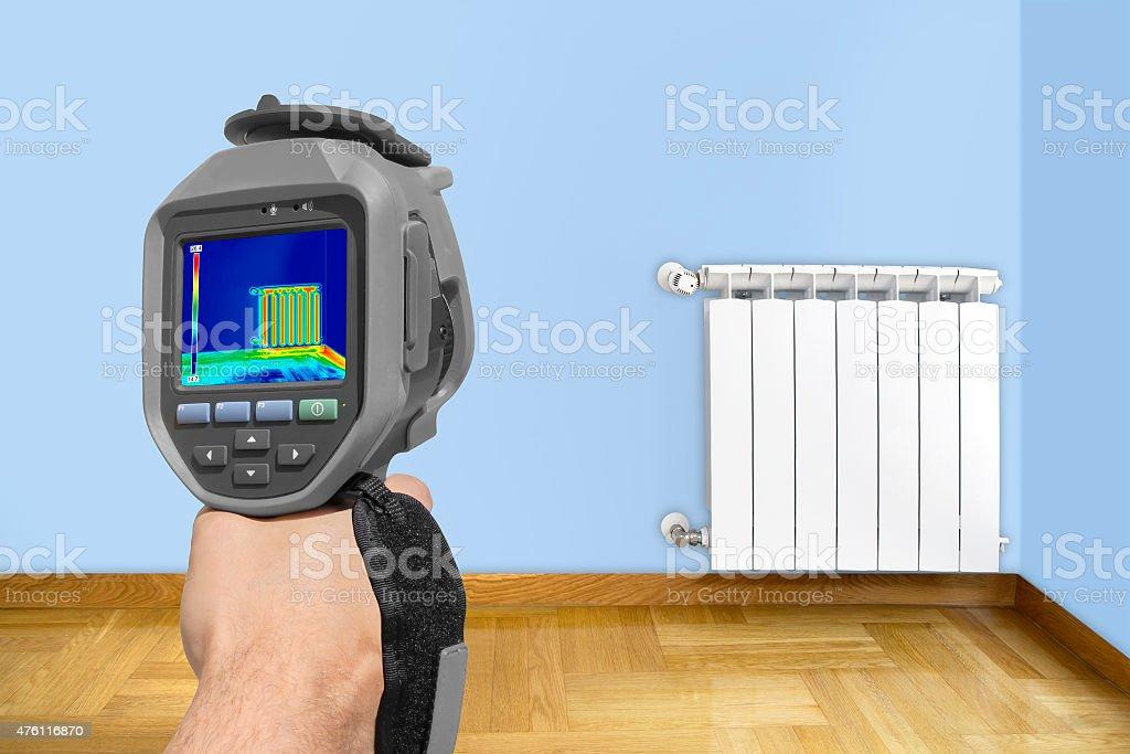 Recording Radiator with Thermal Camera stock photo