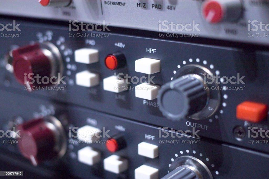 Recording studio audio computer editing mixing program sound controls...
