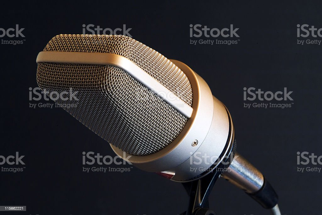 Recording studio microphone on black backgound royalty-free stock photo