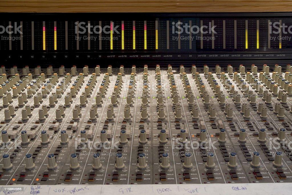 Recording studio mixing board stock photo