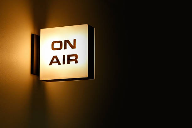 """recording studio """"on air"""" warning light glowing - radio station stock photos and pictures"""