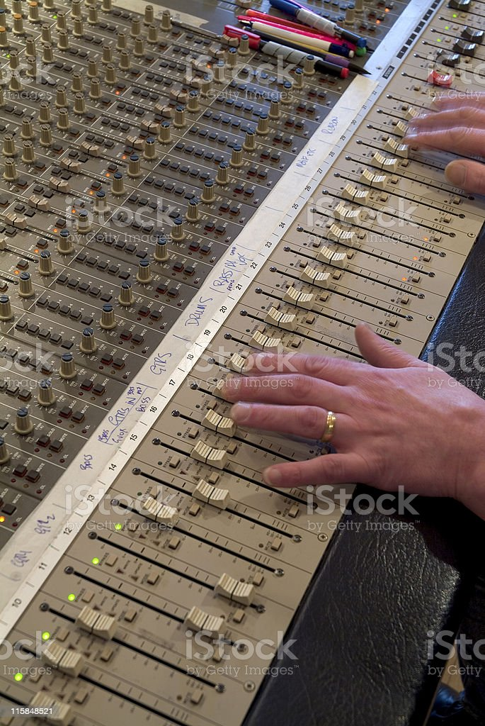 Recording studio sound board royalty-free stock photo