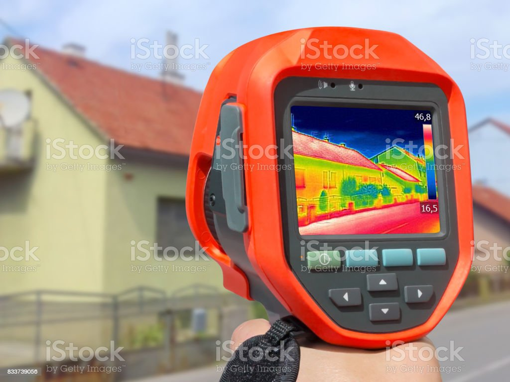 Recording With Infrared Thermal Camera stock photo