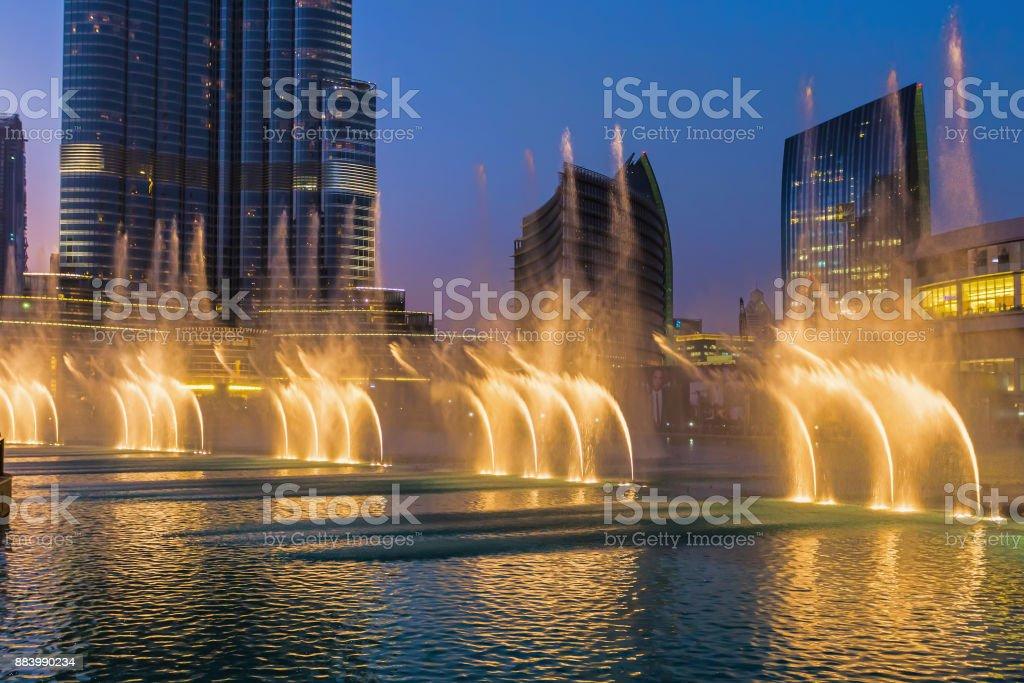 A record-setting fountain system set on Burj Khalifa Lake stock photo