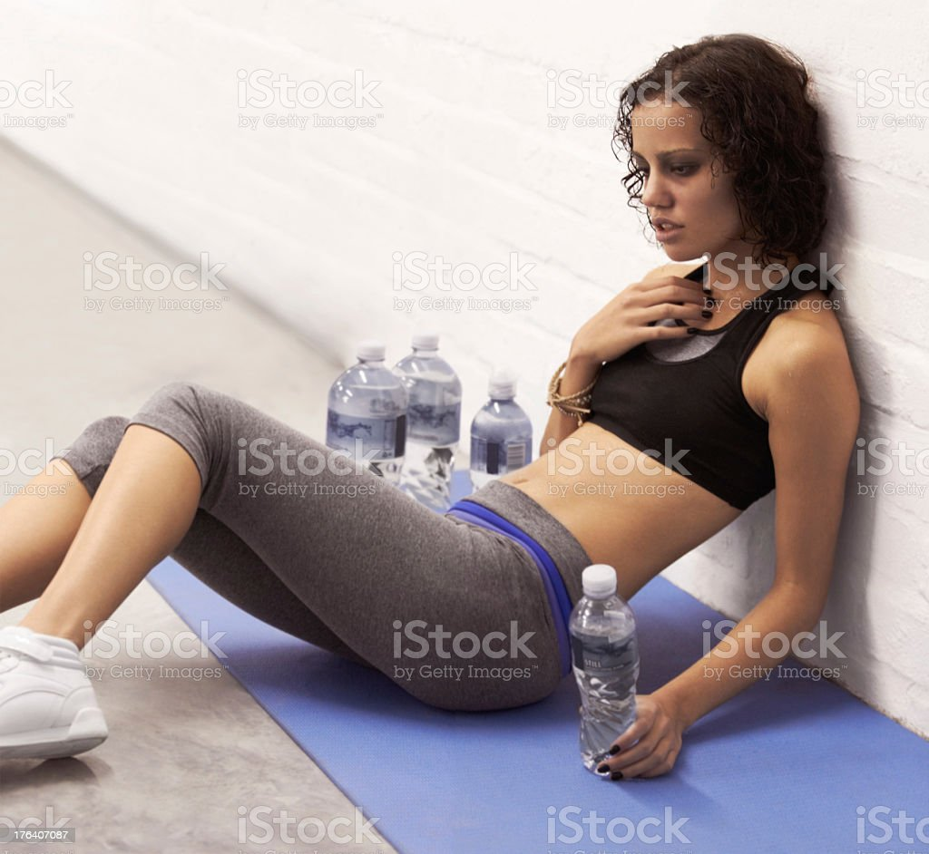 Recovering from a hectic workout stock photo