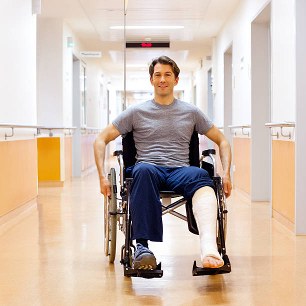 recovering patient - broken leg stock photos and pictures