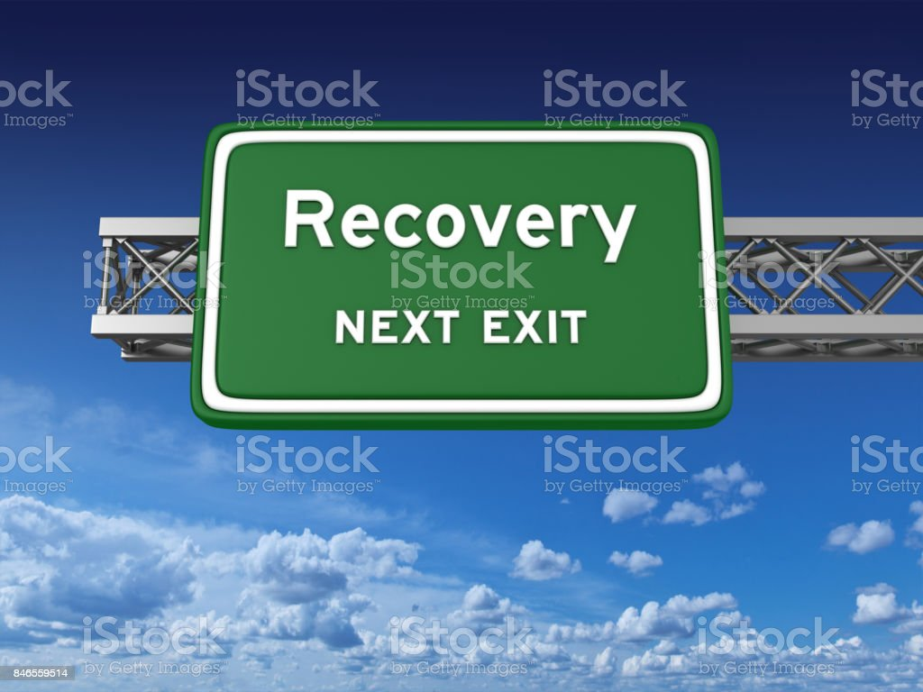 Recovery Concept Highway Sign stock photo