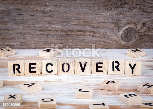 istock Recovery from wooden letters 637080596