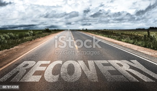 Recovery written on desert road