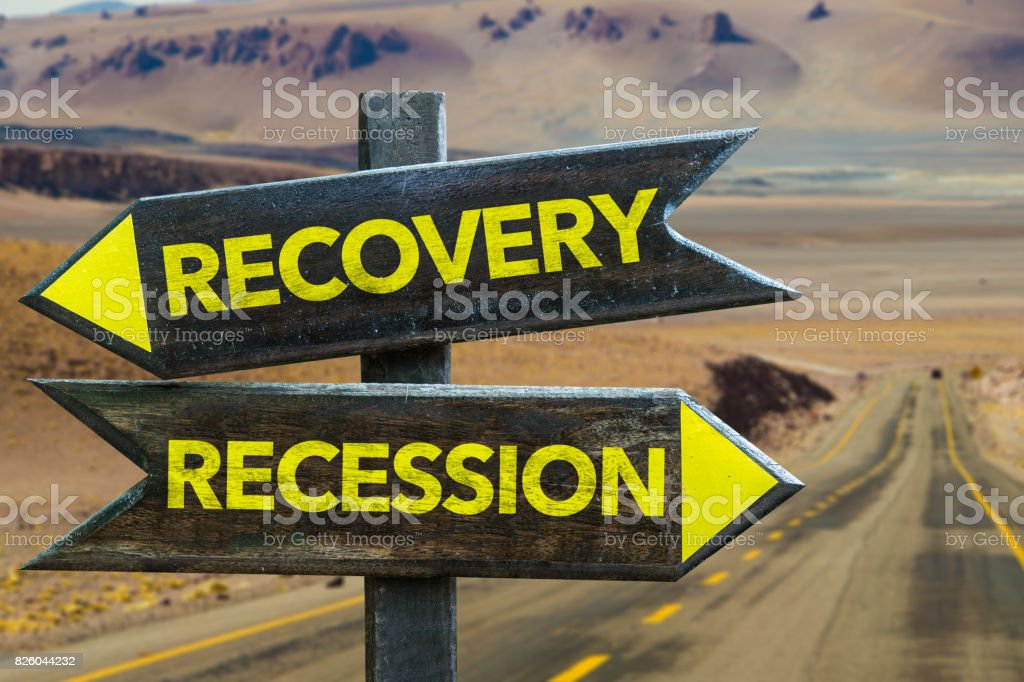 Recovery vs Recession stock photo