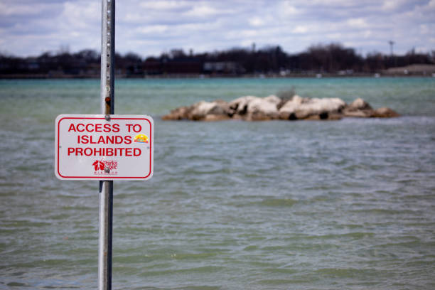 Recreation Boat Launch Warning Island Access Prohibited stock photo