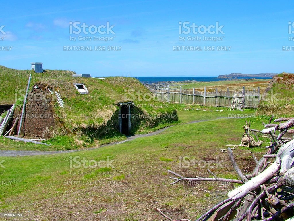Re-creation of a Viking timber-and-sod-longhouse at L'Anse aux Meadows stock photo