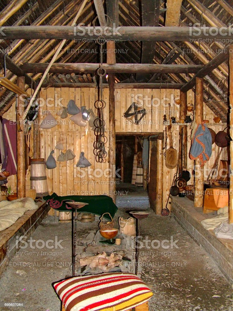 Re-creation of the interior of a Viking timber-and-sod-longhouse at L'Anse aux Meadows stock photo