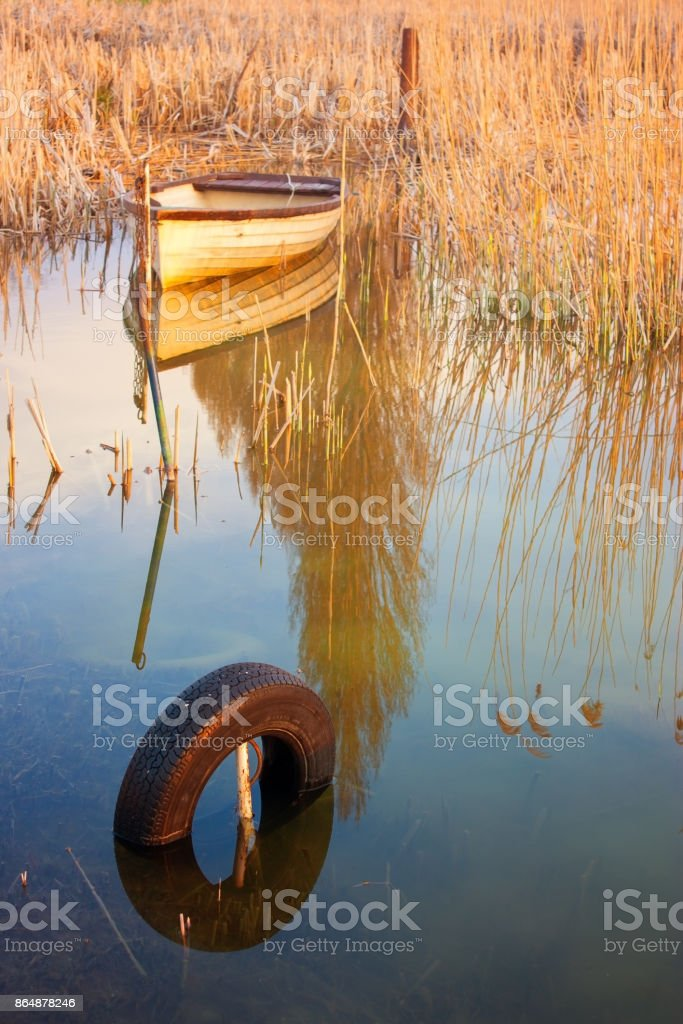 fshing boat ashore next to reed anchored on a tyre on lake Balaton