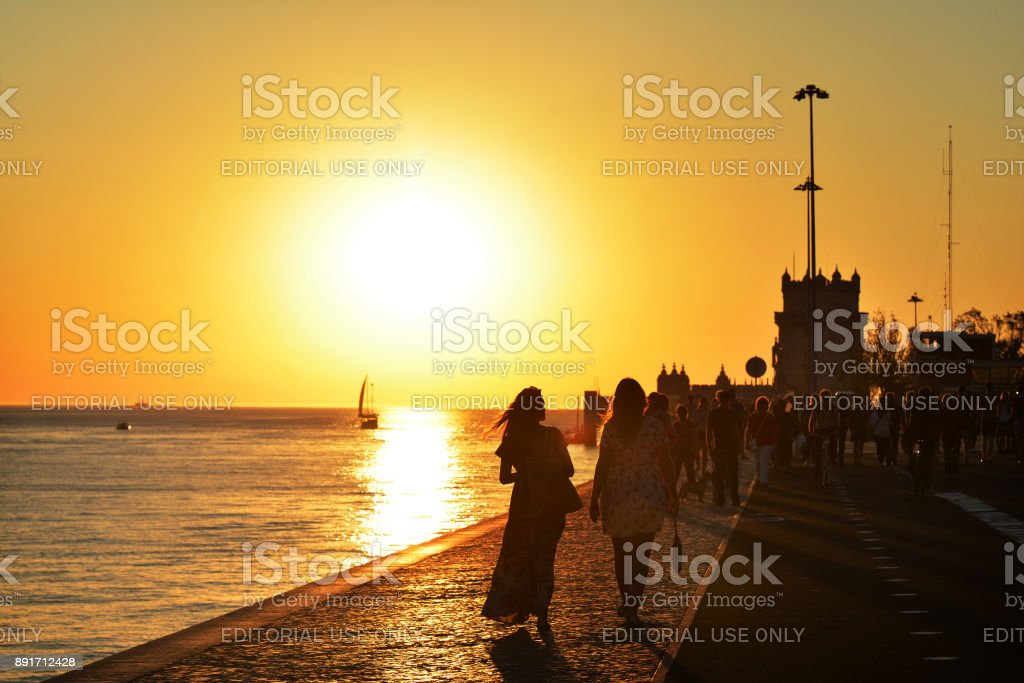 Recreation time at the sunset along the Tagus River, Lisbon stock photo