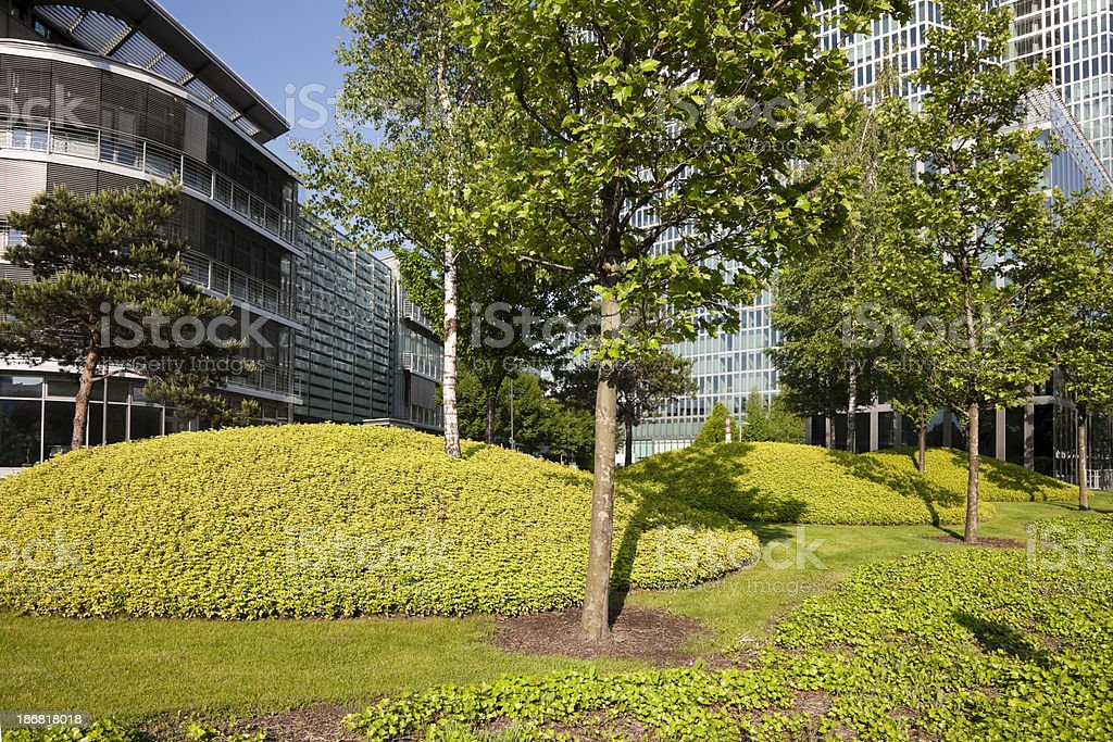 Recreation Zone in Front of Modern Glass Office Building royalty-free stock photo
