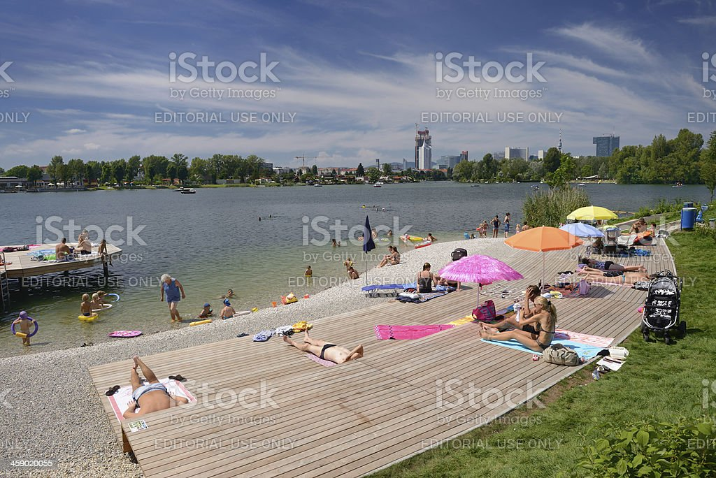 Recreational Area, Alte Donau Wien / Vienna, Austria stock photo