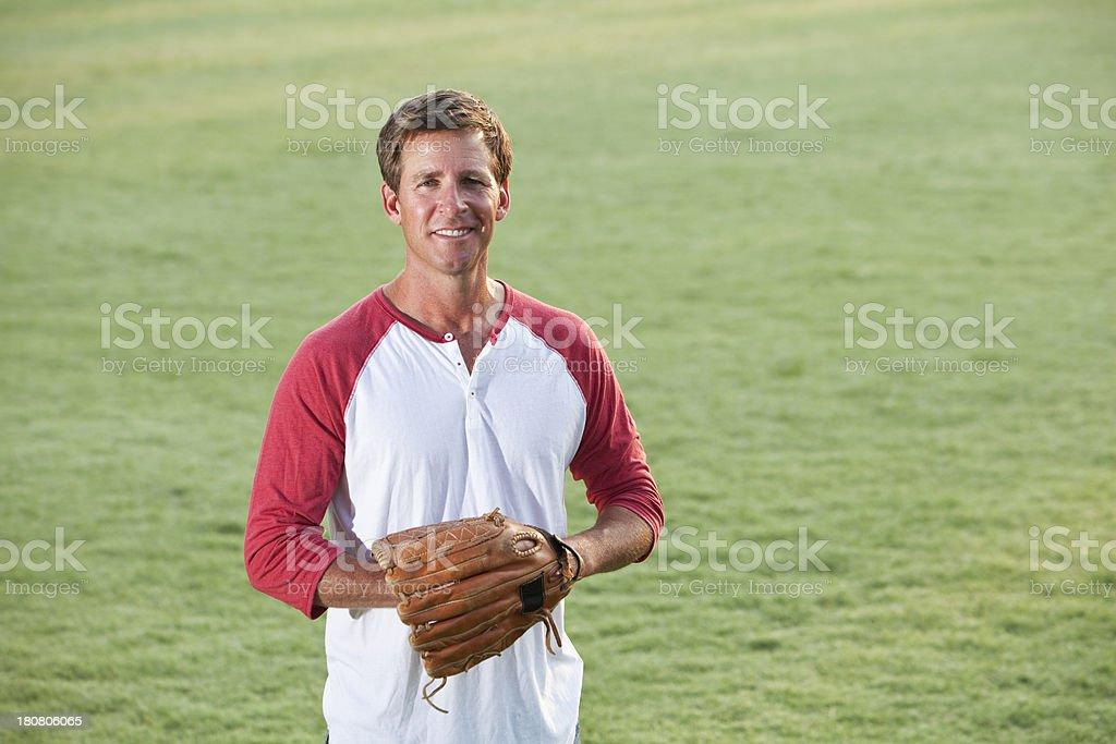 Recreational baseball player stock photo
