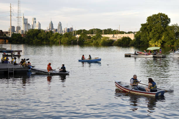 Recreational Boating on the SchuylKill River in Philadelphia, PA stock photo