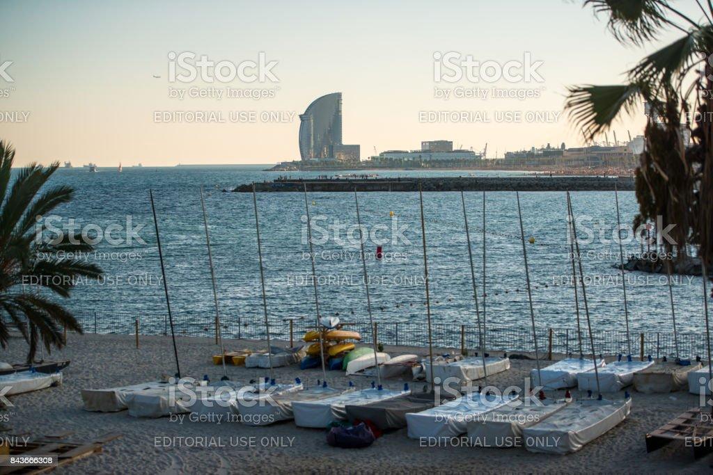 Recreational boats on Barceloneta beach, Barcelona, Spain stock photo