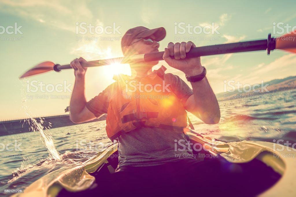 Recreational Kayaking on Lake stock photo