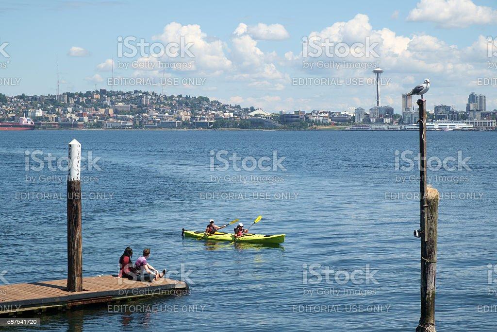 Recreational kayaks on Puget Sound stock photo