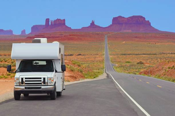 Recreational vehicle on the highway, Monument Valley, USA Road trip, camper caravan photos stock pictures, royalty-free photos & images