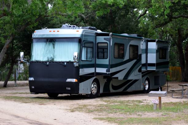 Recreational vehicle Recreational vehicle at campsite Florida, USA motor home stock pictures, royalty-free photos & images