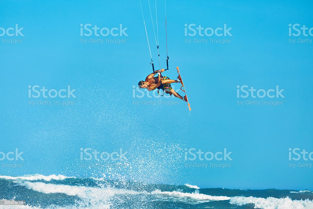 Recreational Water Sports Action. Kiteboarding Extreme Sport. Surfing stock photo