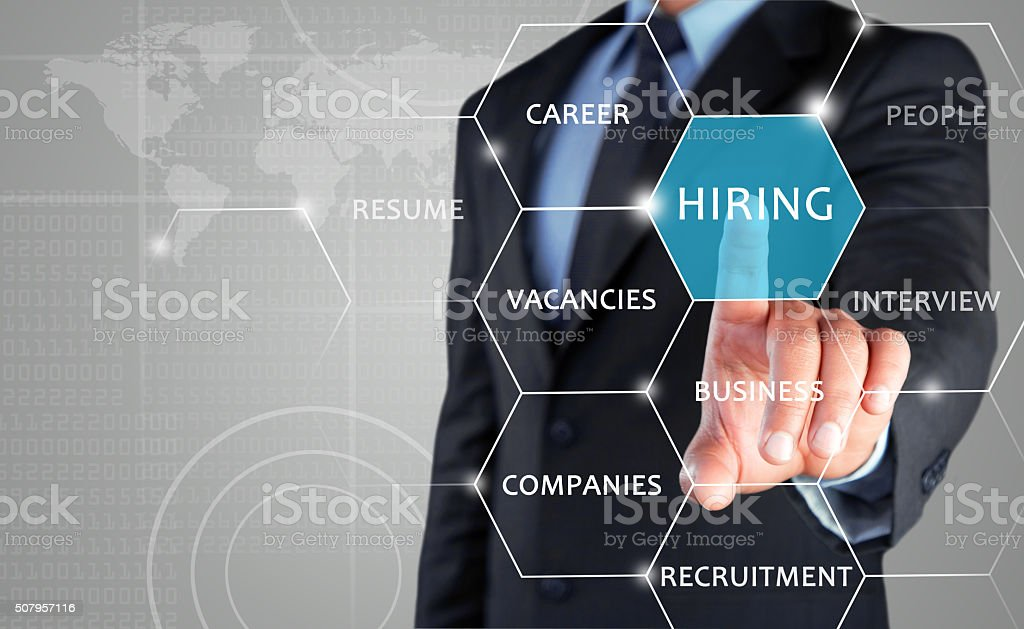Recruiter advertising for job vacancies stock photo